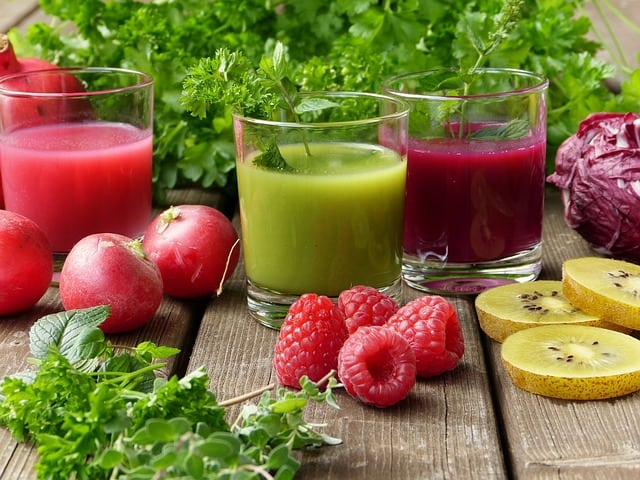 three glasses of smoothie herbs